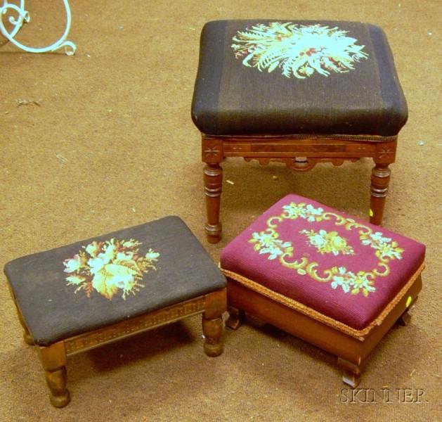 Three Needlepoint Upholstered Footstools