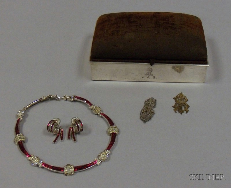 Vintage Marcel Boucher Ruby-colored and Colorless Paste Necklace and Earrings Suite