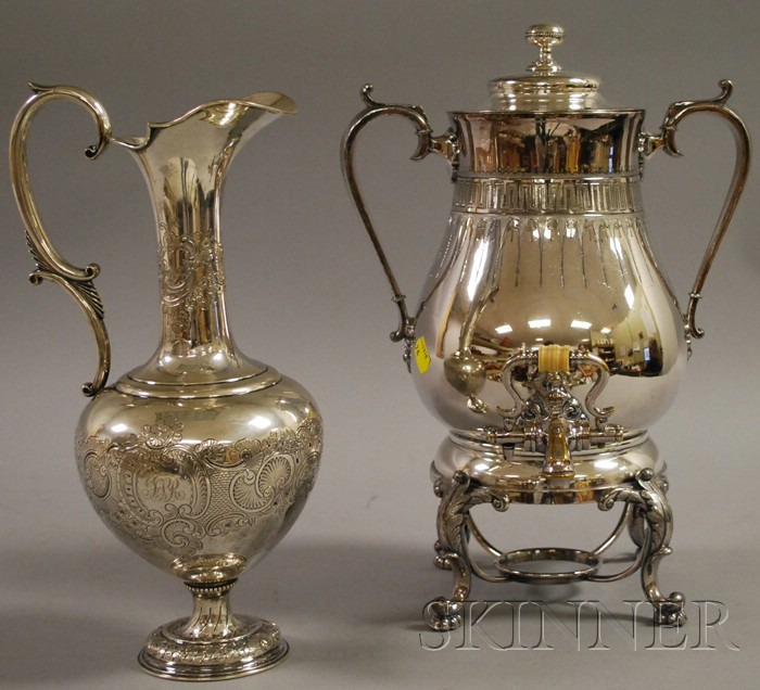 Redfield & Rice Silver-Plated Hot Water Kettle on Stand and a Silver Ewer