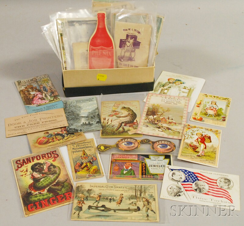 Approximately 125 Late Victorian Chromolithograph and Printed Trade Cards and   Advertising Ephemera