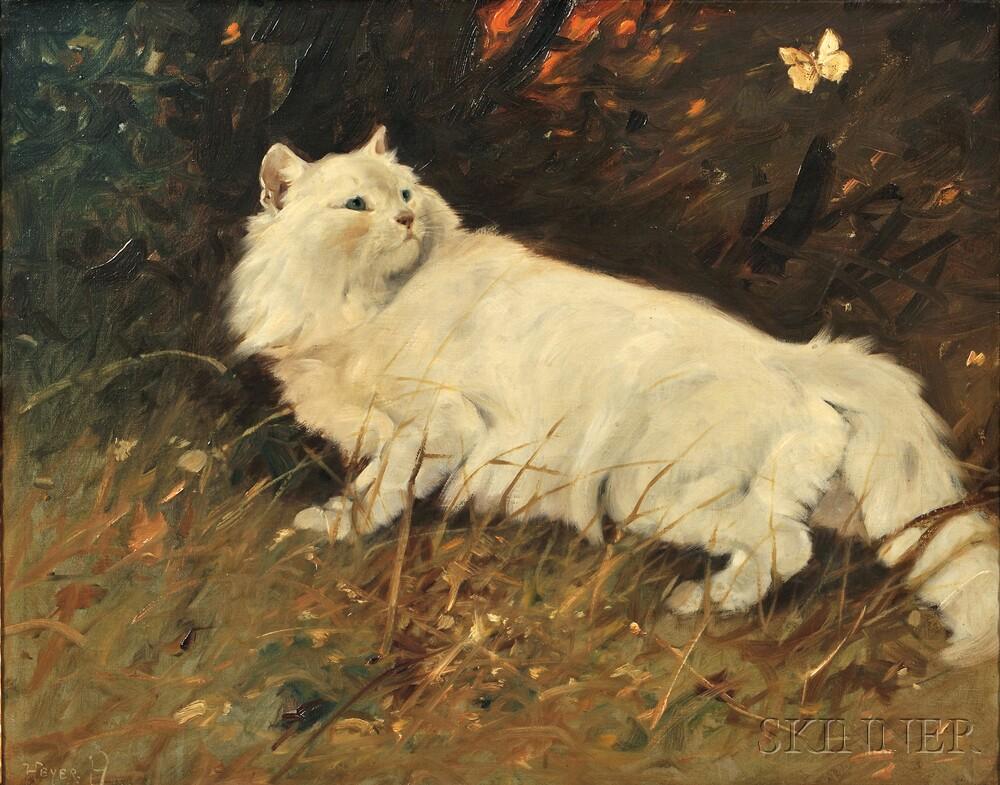 Arthur Heyer (German, 1872-1931)      Cat and Butterfly