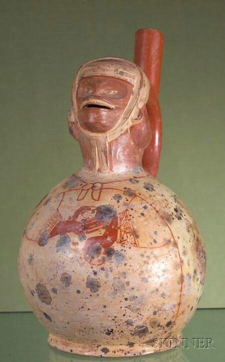 Pre-Columbian Painted Pottery Stirrup Spout Vessel