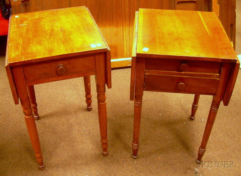 Cherry Drop-leaf Two-Drawer Work Table and a Red-stained Maple Drop-leaf One-Drawer Stand.