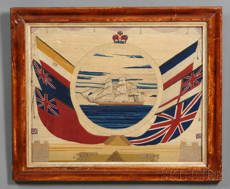 Wool-work Picture of a British Sailing Ship