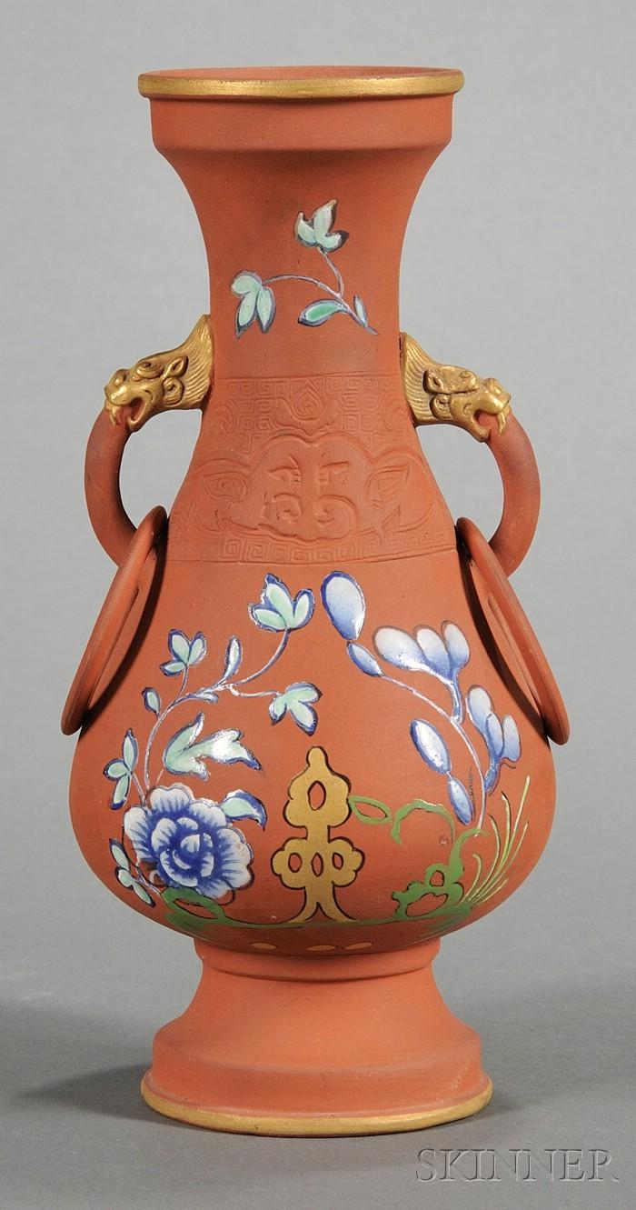 Wedgwood Chinese Style Rosso Antico Vase