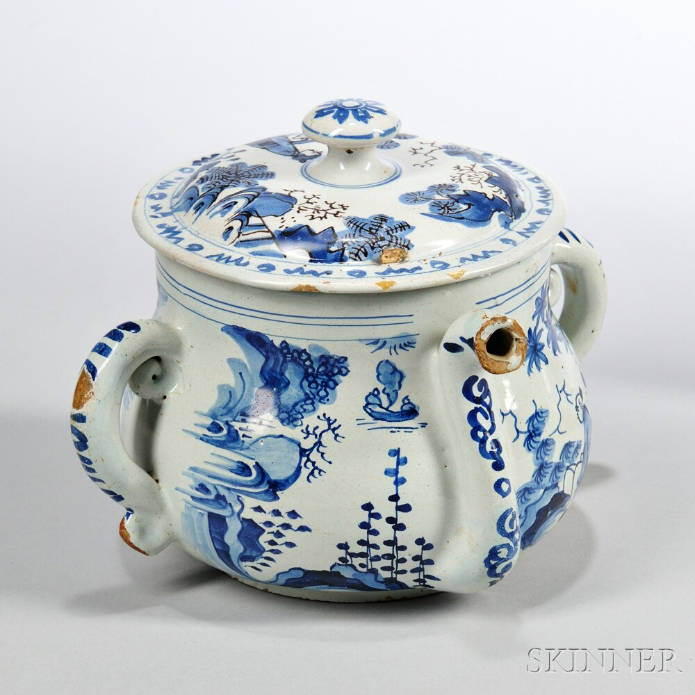 Tin-glazed Earthenware Posset Pot and a Cover