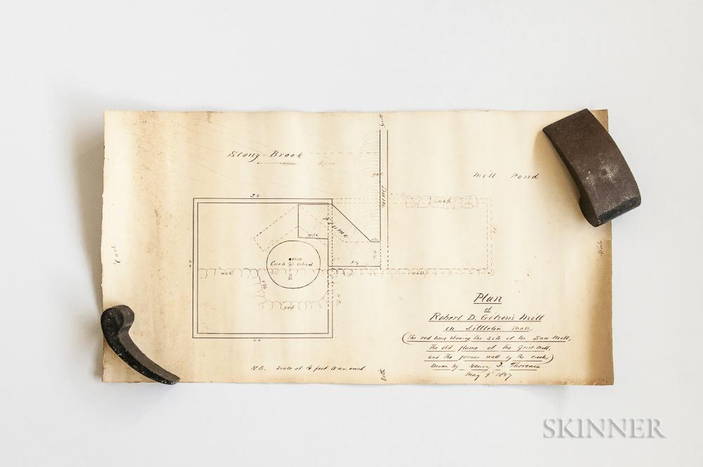 Thoreau, Henry David (1817-1862) Plan of Robert D. Gilson's Mill in Littleton, Mass.  , May 9, 1857.