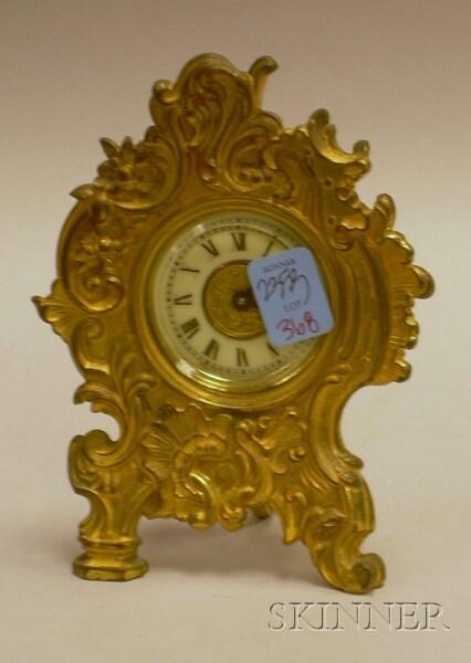 Small Ansonia Rococo-style Gilt-metal Table Clock.