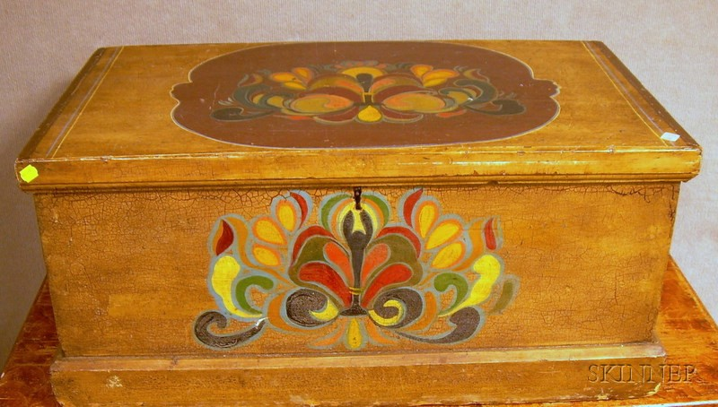 Small Polychrome Paint-decorated Storage Chest.