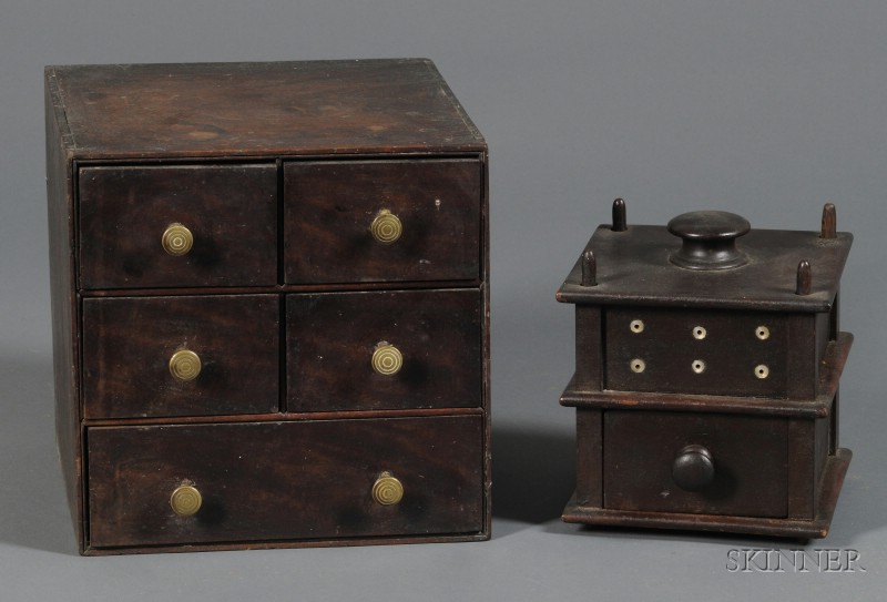 Five-drawer Mahogany Spice Chest and a Pine Sewing Box