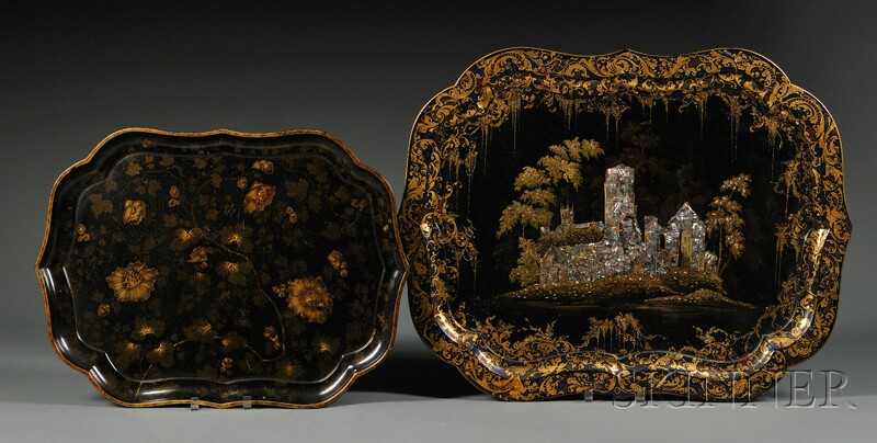 Two Victorian Lacquered Trays