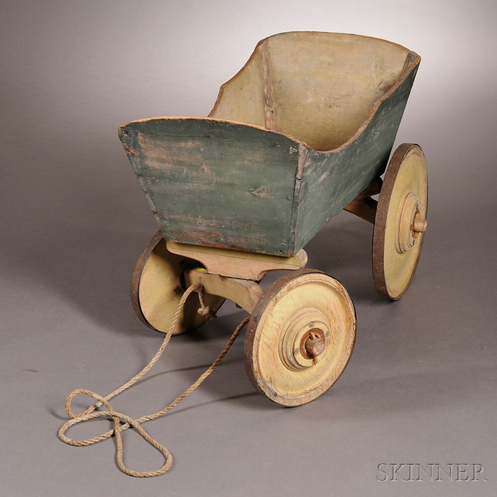 Yellow- and Blue-painted Pine and Oak Wagon
