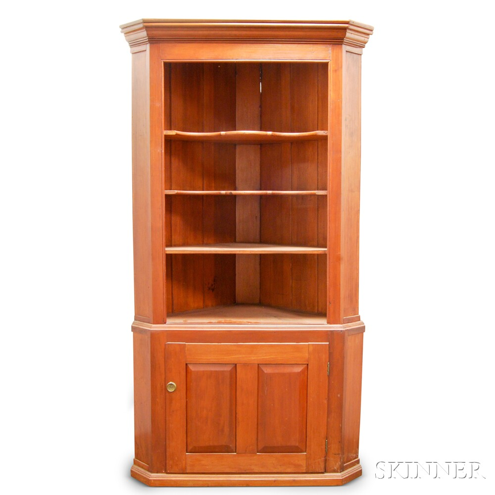Country Pine Two-part Open Corner Cupboard