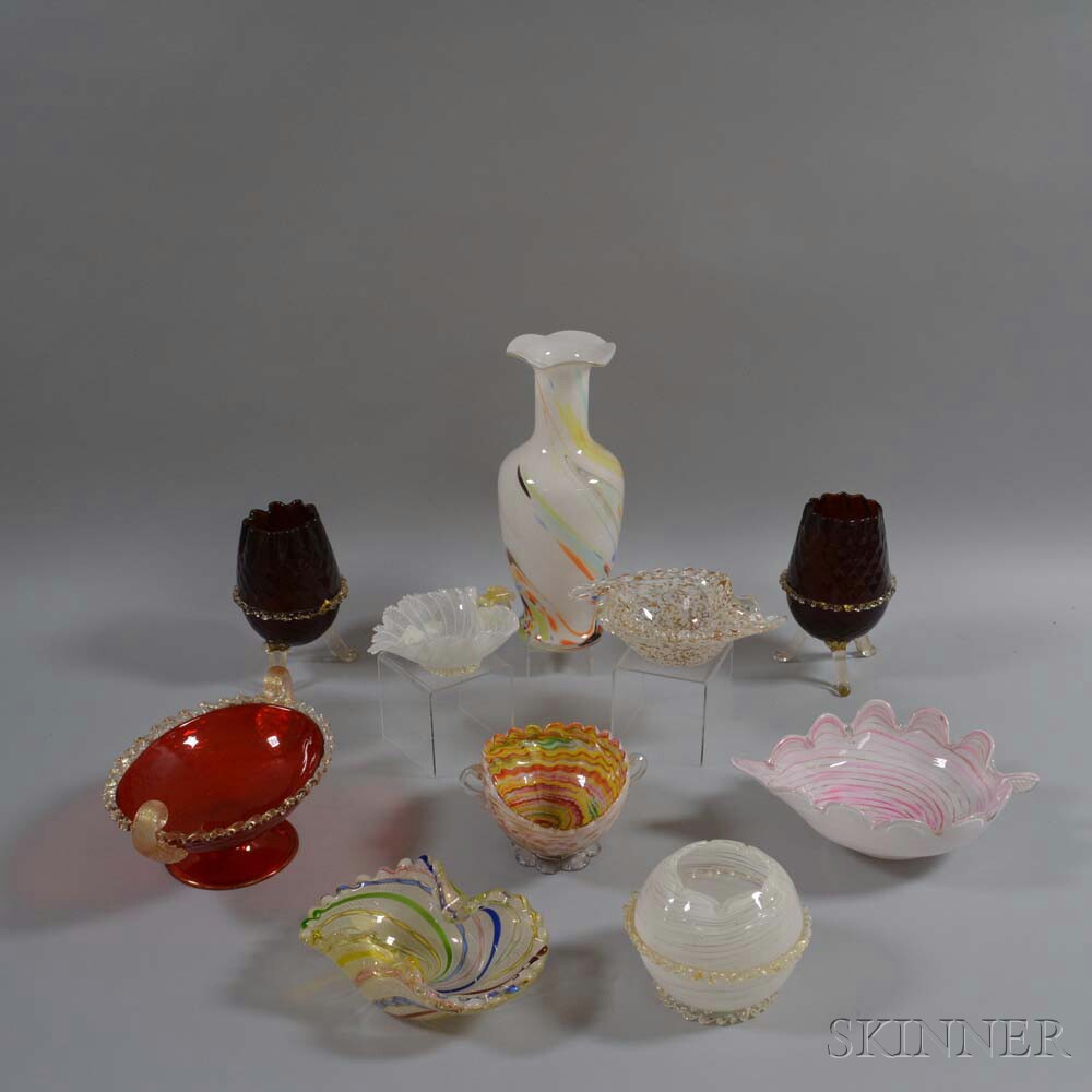 Ten Venetian Glass Vessels