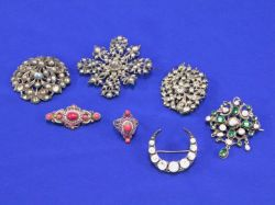 Group of Victorian Paste Brooches and a Ring, and a Hungarian Stone and Pearl Brooch.