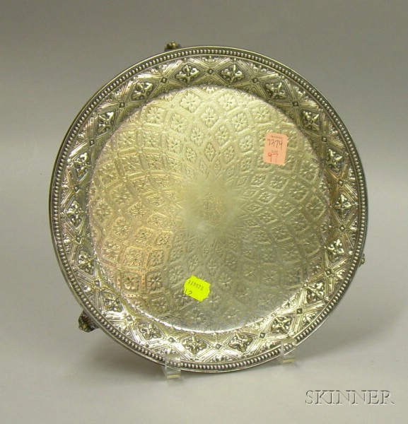 Victorian Renaissance Revival Silver Plated Footed Salver.
