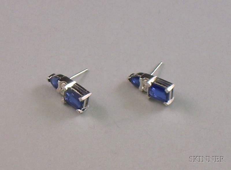 Pair of 14kt White Gold, Sapphire, and Diamond Earrings.
