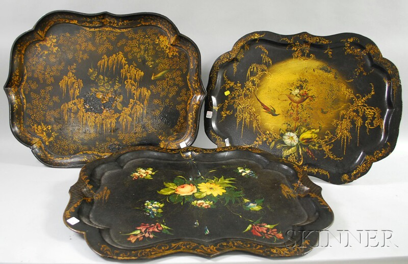 Three Large Victorian Gilt and Polychrome-decorated Black Lacquered Papier-mache   Trays