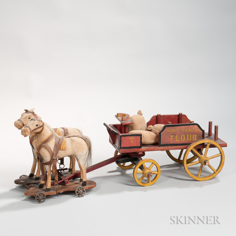 """Painted Toy """"Best Family Flour"""" Wagon and Two Horses"""