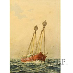 American School, 19th Century  Fishing Vessel in Calm Seas.