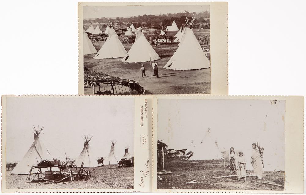 Three Cabinet Card Photos of a Kiowa-Comanche Camp