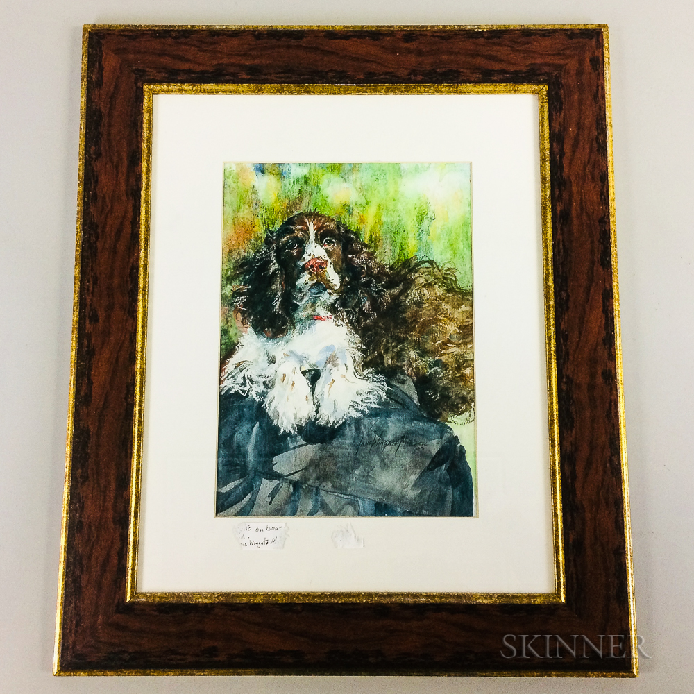 Framed Jane Wingate Mitchell Lithograph of a Springer Spaniel