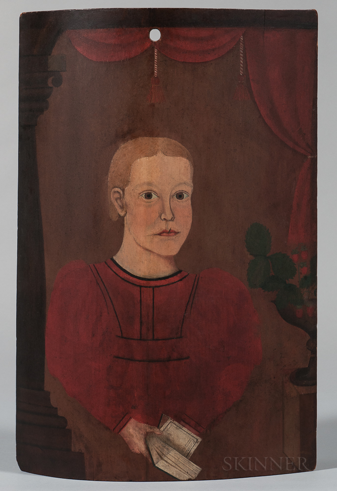American School, Early 19th Century      Portrait of a Young Fair-haired Boy in a Red Dress with Strawberries