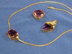 Gold and Amethyst Necklace and Two Pendants.
