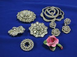 Group of Christian Dior, Eisenberg, Weiss and Other Paste Jewelry.