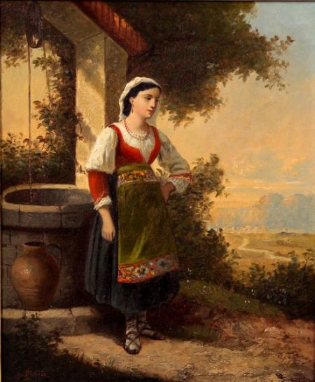 Attributed to Charles Felix Edouard Deshayes (French, 1831-1895)    At the Well