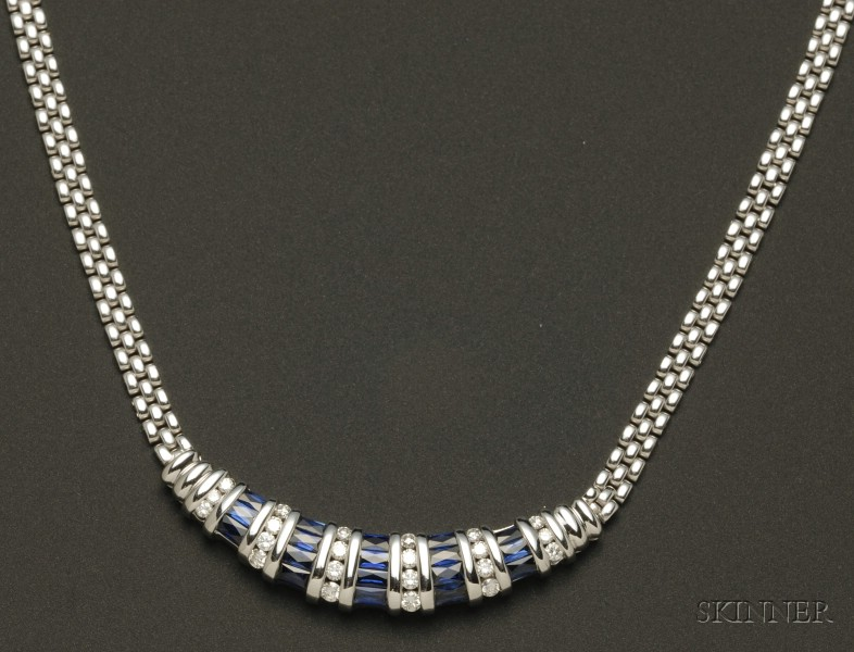 14kt and 18kt White Gold, Sapphire and Diamond Necklace