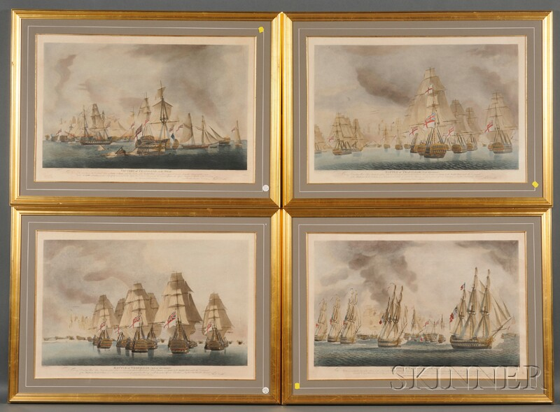 Set of Four Battle of Trafalgar Hand-colored Collotypes