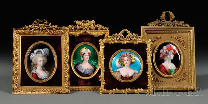Four Enamel on Copper Portrait Miniatures of Ladies