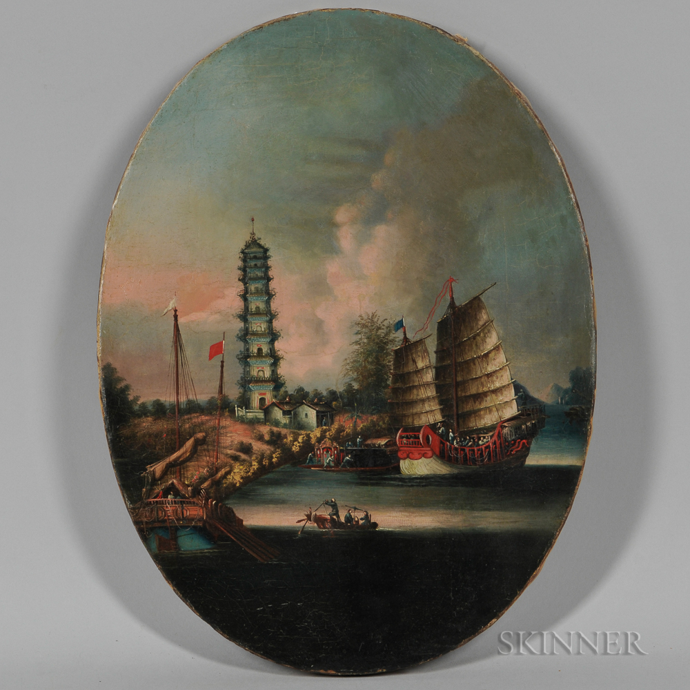 Chinese School, 19th Century      Harbor Scene with Pagoda