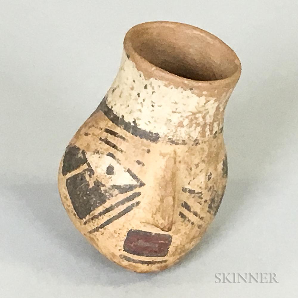 Pre-Columbian Pottery Face Vessel