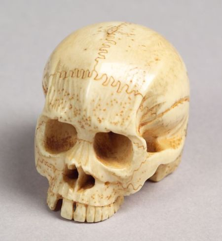 Ivory Okimono in the Form of a Skull