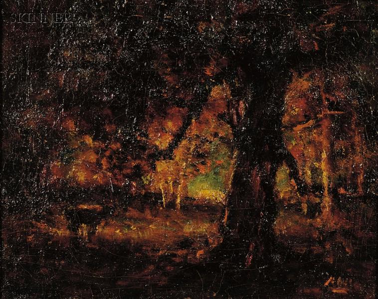 Henry Hammond Ahl (American, 1869-1953)      Woodland Interior
