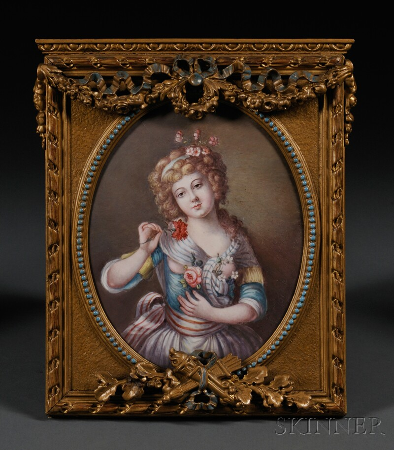 Framed Enamel on Copper Portrait of a Maiden