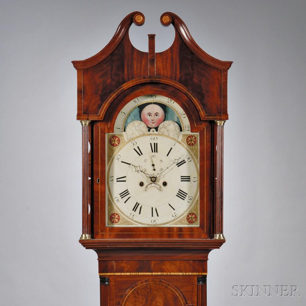 Mid Atlantic Inlaid Mahogany Tall Clock