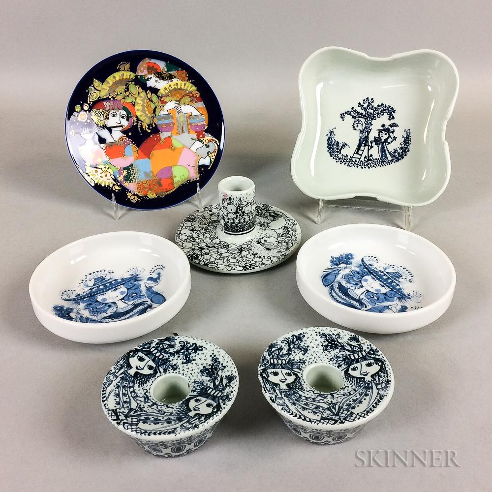 Seven Pieces of Bjorn Wiinblad Ceramics
