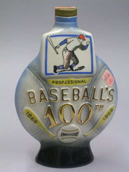 James B. Beam Professional Baseball's 100th Anniversary 1869-1969 Commemorative   Ceramic Liquor Bottle