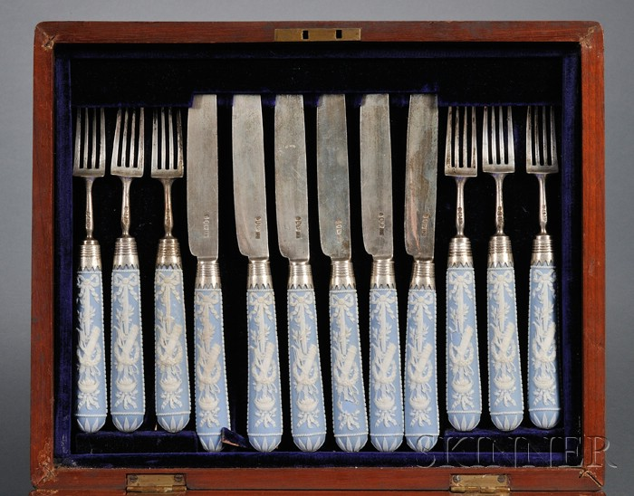 Boxed Set of George III Silver and Wedgwood Blue Jasper-handled Flatware