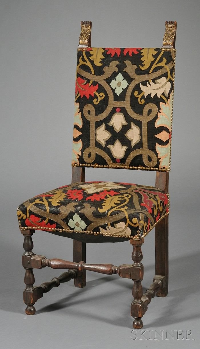 Baroque-style Walnut and Tapestry Upholstered Side Chair