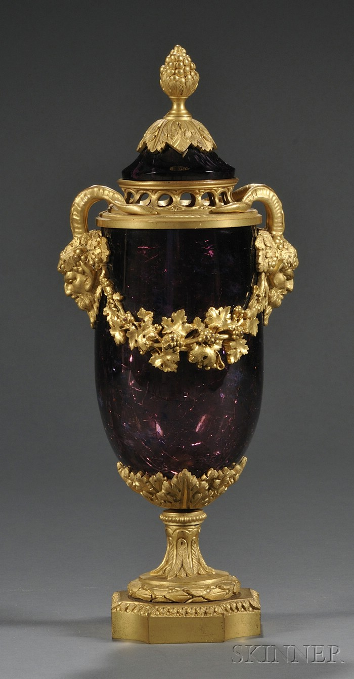 Gilt-bronze and Crackled Amethyst Glass Potpourri Vase and Cover