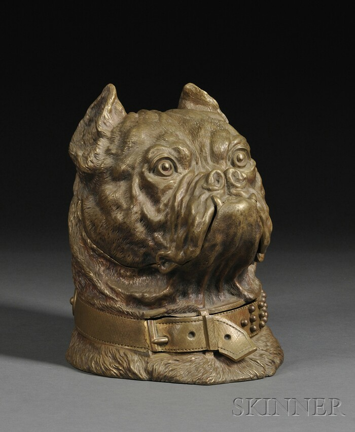 Bronze Dog Head-form Humidor