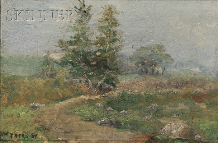Attributed to Dwight William Tryon (American, 1849-1925)      Spring Landscape/A Study