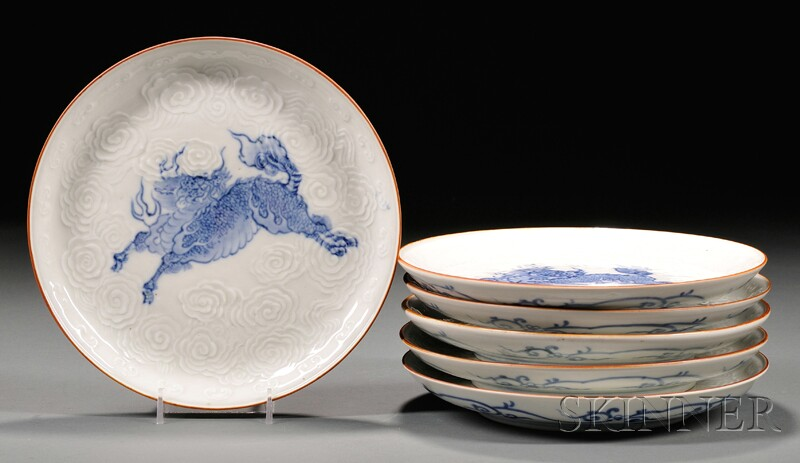 Set of Six Blue and White Plates