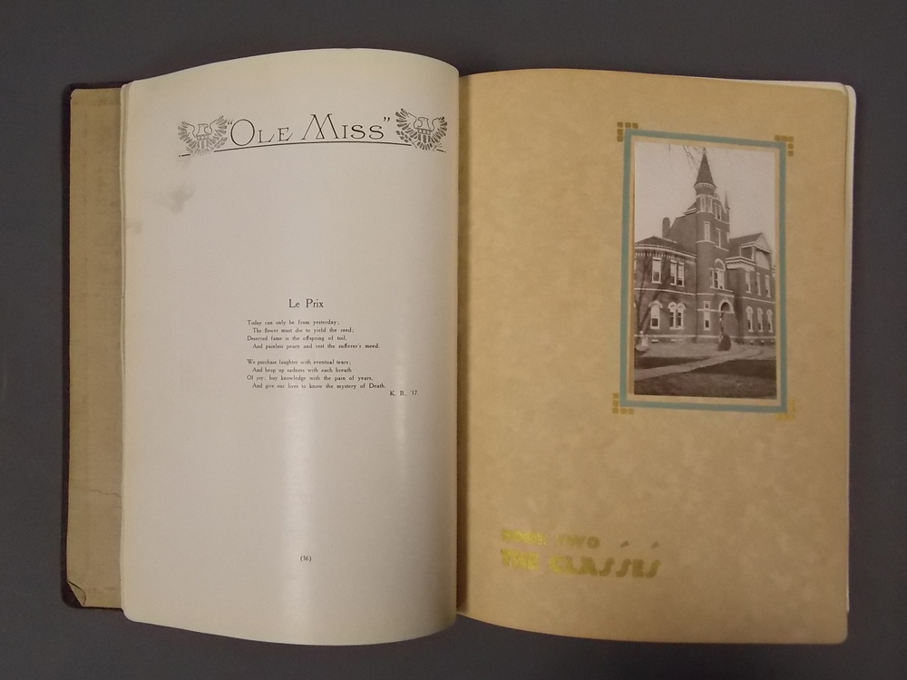 William Faulkner (1897-1962) Ole Miss: The Year Book of the University of Mississippi Vol. XXII, 1917/1918