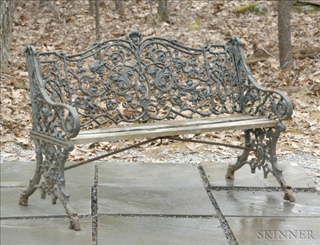 """Green Painted """"Rustic"""" Pattern Cast Iron Seat"""