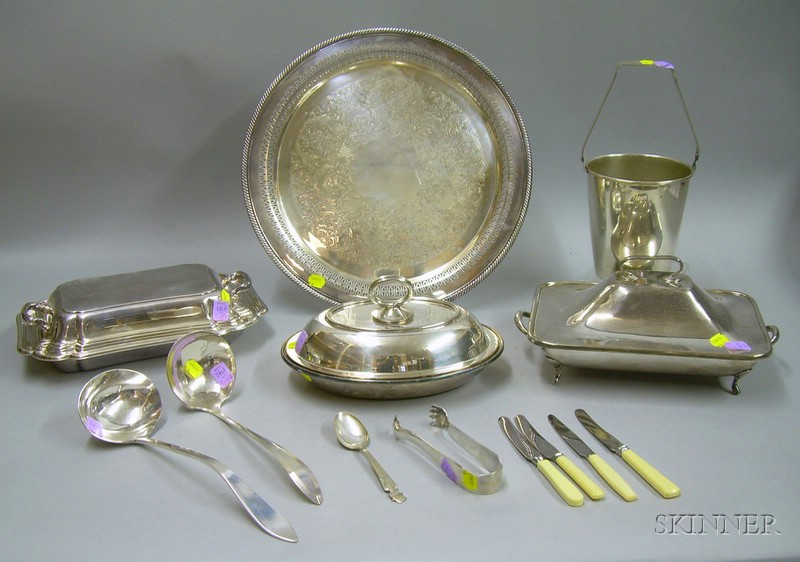 Twelve Pieces of Silver Plated Serving and Flatware Items